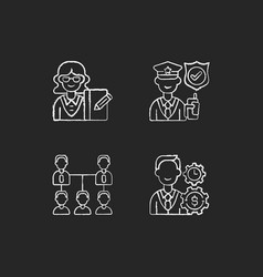 Corporation hierarchy chalk white icons set vector