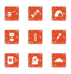 Cozy winter icons set grunge style vector