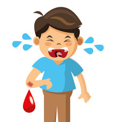 crying boy blood pain vector image