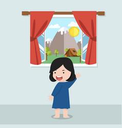 Cute girl looking outside window vector