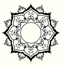 Decorative black and white frame with circular vector