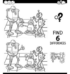 Differences color book with robot characters vector