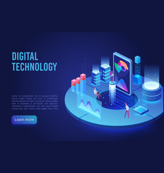 digital and internet technology dark neon light vector image