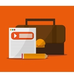 Document suitcase and pencil design vector