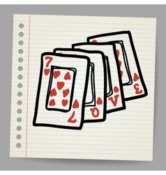 Doodle playing cards with the word love vector image