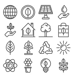 ecology icons set on white background line style vector image