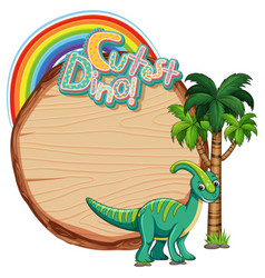 Empty board template with cute dinosaur on white vector