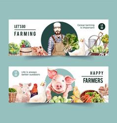 Farmer banner design with pig chicken duck vector