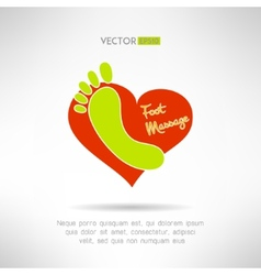 Feet massage sign and foot logo on top of a red vector image