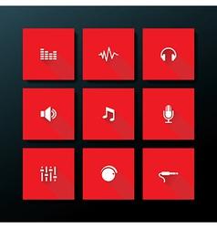 flat audio icon set vector image