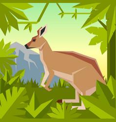 flat geometric jungle background with kangaroo vector image