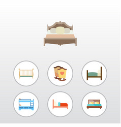 Flat mattress set of bearings cot crib and other vector