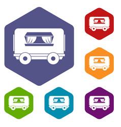 food trailer icons set hexagon vector image