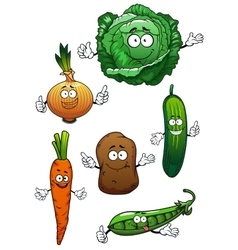 Fresh healthful vegetables cartoon characters vector image