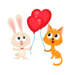 Funny rabbit bunny and cat holding red heart vector