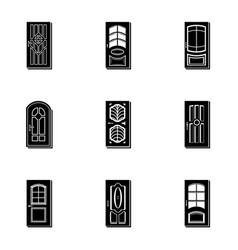 glass door icons set simple style vector image