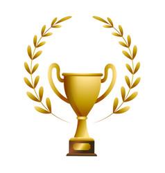 gold trophy withlaurel whreat vector image