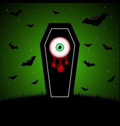 Halloween coffin blood eyeball graveyard bat vector