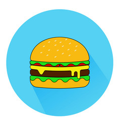 hamburger icon with long shadow in flat style vector image