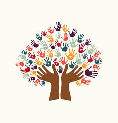Hand print ethnic tree symbol culture diversity vector