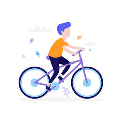 happy boy riding bicycle outdoors in park vector image