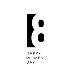 Happy womens day sign black negative space vector