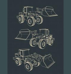 heavy loader blueprints vector image