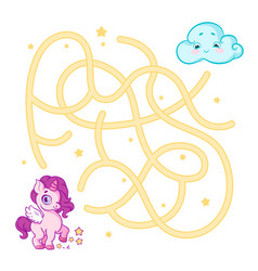help cute unicorn cub find the right path to cloud vector image