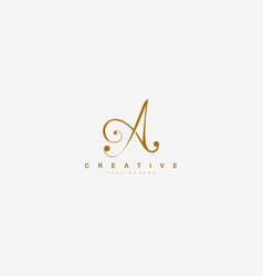 initial a letter linked beauty script signature vector image