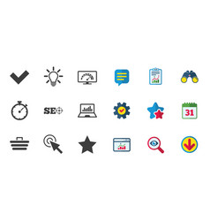 Internet seo icons bandwidth speed sign vector