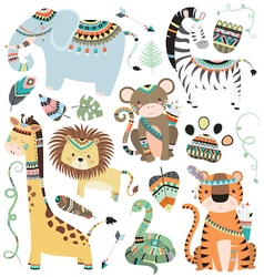 Jungle tribal animals vector