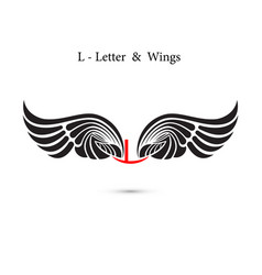 L-letter sign and angel wingsmonogram wing logo vector