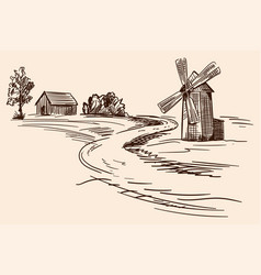 landscape with a mill vector image