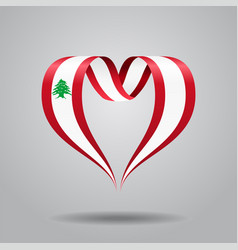Lebanese flag heart-shaped ribbon vector