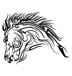 Line art horse head tattoo sketch vector