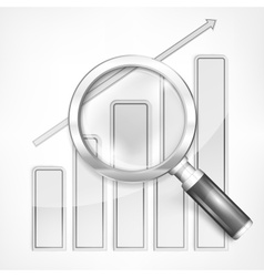 Magnifying glass and chart on vector image
