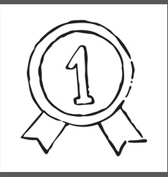 Medal for victory doodle icon vector