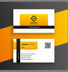 Modern yellow color business card design template vector