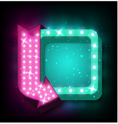 Neon sign with arrow vector
