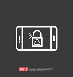 Open unlock padlock on phone screen icon vector