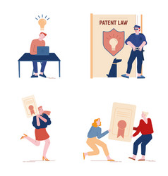 Patent law set with people authors create mental vector
