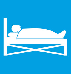 patient in bed in hospital icon white vector image