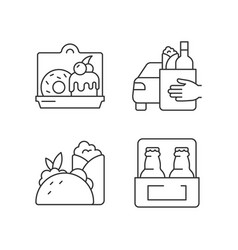 Pickup and delivery option linear icons set vector
