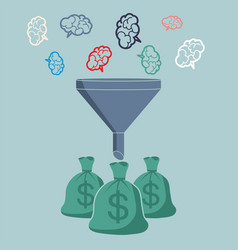 profit and investment concept brains falling into vector image