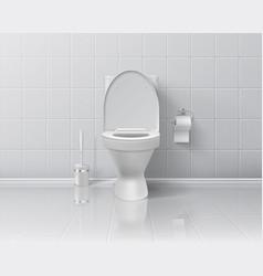 Realistic toilet 3d room interior mockup vector