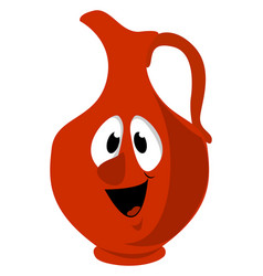 Red jug on white background vector