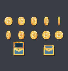 rotation animation coin bitcoin technology digital vector image