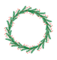 Round christmas wreath with twigs and berries vector