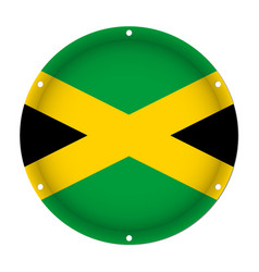 Round metallic flag of jamaica with screw holes vector