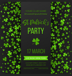 Saint patrick s day poster with green four vector